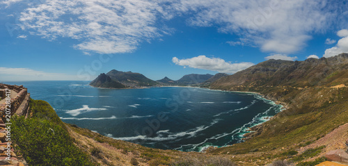 Garden Poster South Africa Panorama of Hout Bay in Cape Town with blue sky