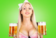 canvas print picture - oktoberfest woman with big breast Holds two mugs
