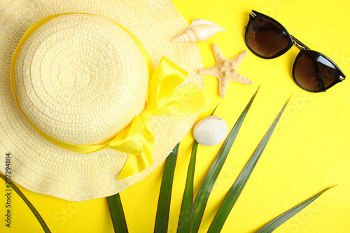Canvas Prints Countryside Female hat, sunglasses