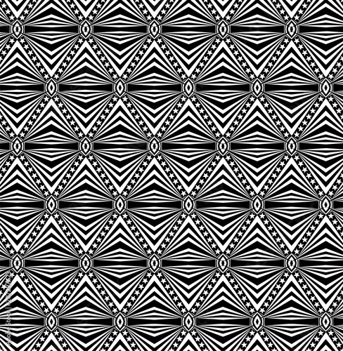 Seamless elaborate  pattern with a five-pointed stars and stripes in a black  - Canvas Print