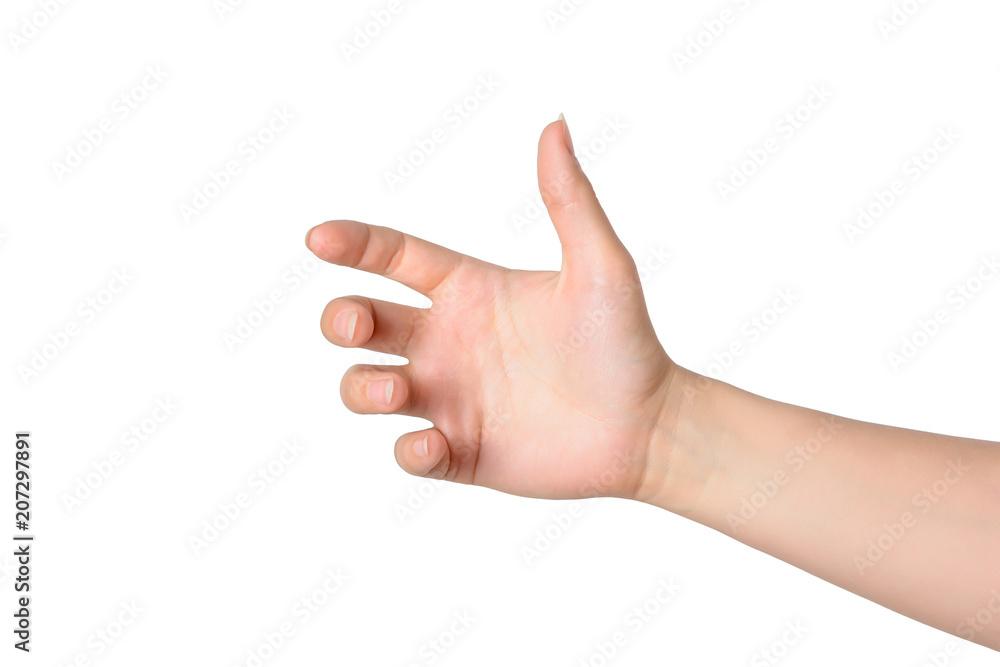 Fototapeta gesture of the hand for holding smartphone or bottle