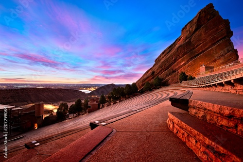Photo  Red Rocks Park at sunrise, near Denver Colorado