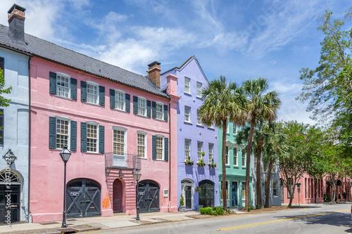 Fototapeta premium Rainbow Row w Charleston w Południowej Karolinie