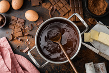 Ingredients For Cooking Chocolate Pastry From Above