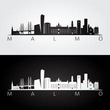 Malmo Skyline And Landmarks Silhouette, Black And White Design, Vector Illustration.