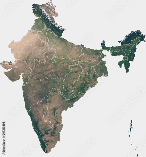 Large (90 MP) satellite image of India with internal (states) borders Poster