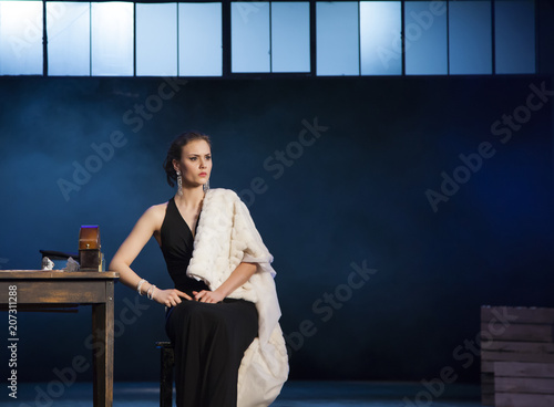 Actress Alena Mitroshina, on stage during the spectacle The Nameless Star, a p Canvas Print