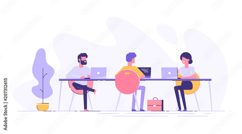 Fototapety, obrazy: Coworking space with creative people sitting at the table. Business team working together at the big desk using laptops. Flat design style vector illustration.