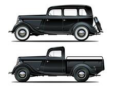 Vector Vintage Cars Set
