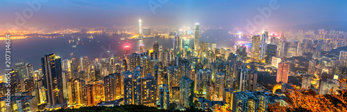 Fototapety, obrazy: Panorama of Hong Kong Island in the evening, China