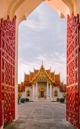 Staande foto Bedehuis Marble temple one of popular temple in Thailand