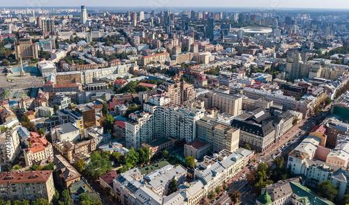 Foto op Plexiglas Kiev Aerial top view of Kiev city skyline from above, Kyiv center downtown cityscape, capital of Ukraine