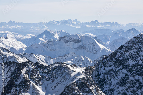 Foto op Aluminium Alpen Majestic view of the Alps mountains, Austria, Stubai