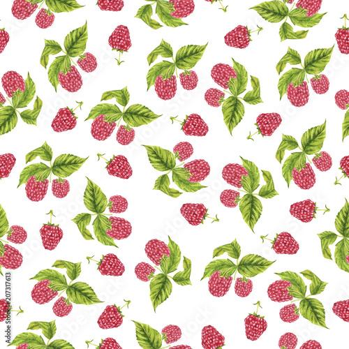bezszwowy-wzor-z-czerwona-malinka-i-swieza-zielenia-opuszcza-na-bialym-tle-recznie-rysowane-akwarela-ilustracja