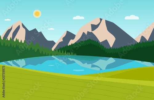 Summer landscape with forest, mountains and laker. Vector flat style illustration