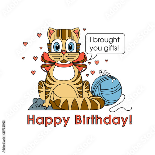 Happy Birthday Card For Cat Lover Several Cats Sitting On Grass And Meowing To You