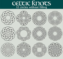 Celtic Knots, Circles Without Filling. Set Of 12 Circles With Celtic Patterns To Use In Tattoos Or Designs.