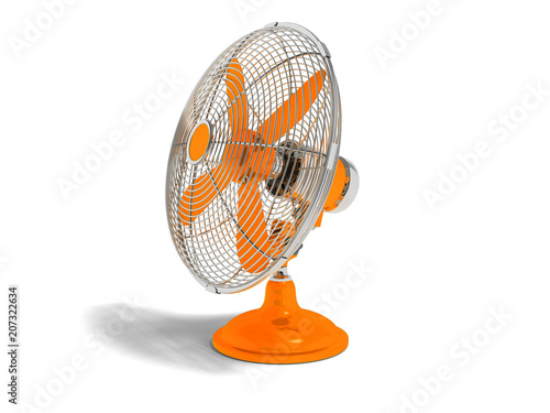 Fotografia  Modern orange fan on the table to cool the room on the right 3d render not white