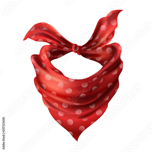 Vector 3d realistic silk red neck scarf Wallpaper Mural