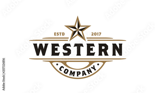 Vintage Retro Western Country Emblem Texas Logo design Canvas Print