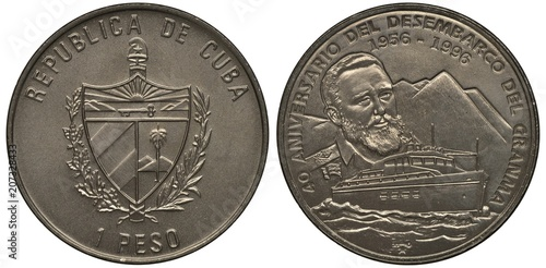 Valokuva  Cuba Cuban coin 1 one peso 1996, arms, shield, 40th anniversary of guerillas dis