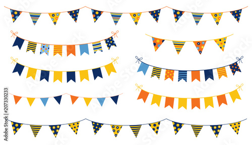Fotografia  Festive and cheerful vector buntings with colorful flags with dots and stripes f