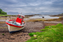 Red Boats On The Coast At Low Tide, Scotland