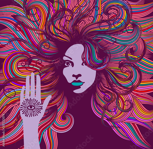 Obraz na plátně Psychedelic portrait of a hippie woman with colorful hair and an all seeing eye on her hand