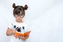 Clever Child In Eyeglasses, Wr...