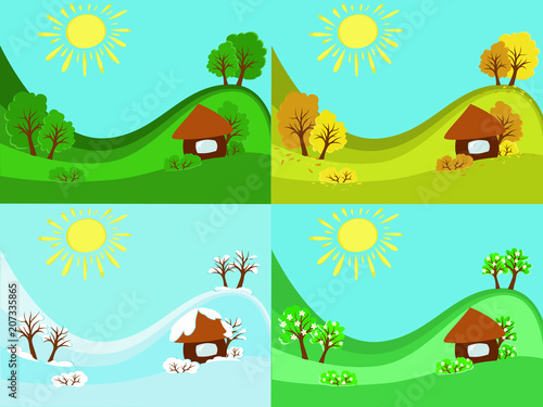 spring, summer, autumn, winter, season, snow, falling leaves, tan, hot, house, tree, weather, sun, nature, landscape, change, transition, flowering, garden, village, vector, farm, four, same, differen