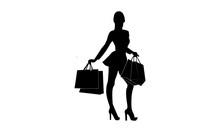 Silhouette Of Young Women Carrying Shopping Bags