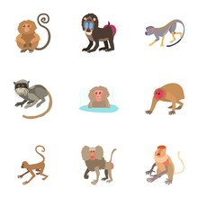 Monkey Icons Set. Cartoon Set ...