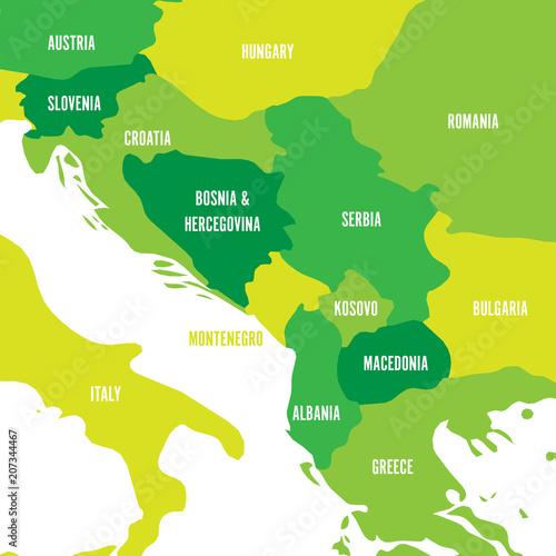 Political map of Balkans - States of Balkan Peninsula. Four shades ...