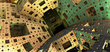 3D Fractal - Menger Sponge From Within - 3D Rendering Background