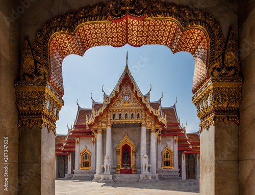 Stickers pour porte Delhi The Marble Temple, Wat Benchamabophit Dusit wanaram. Bangkok, Thailandia