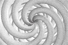 Vector Halftone Stippled Geometric Figure Background - 3D Infinity  Torus Knot Loop Close Up