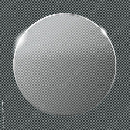 Fényképezés  Transparent Luster Crystal Glass Badge Plate  Mockup - Clear Glassy Circle Templ