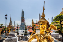 Golden Statue And Temple Details At The Grand Palace In Bangkok, Thailand