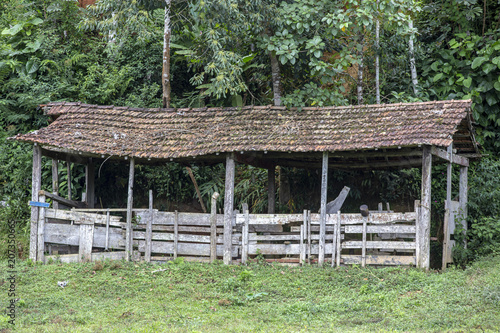 Tuinposter Weg in bos Old wooden barn in ruins