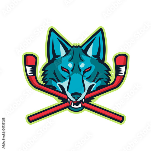 Stampa su Tela Sports mascot icon illustration of head of a coyote or gray wolf biting a crossed hockey stick viewed from front on isolated background in retro style