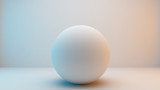 Milky white sphere isolated on white background with slightly blue and orange lighting . 3D Rendering