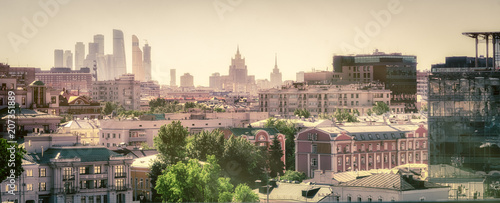 Fényképezés Moscow city panoramic view from the roof