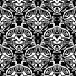Ethnic style floral vector paisley seamless pattern. Black and white ornamental patterned background. Monochrome hand drawn flourish damask ornaments. Lattice lace paisley flowers. Template for fabric