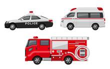 パトカー、救急車、消防車、セット