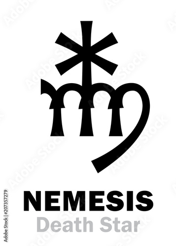 Photo  Astrology Alphabet: NEMESIS (Death Star), hypothetic super-distance sinister star-satellite of the Sun