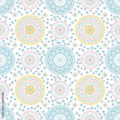 Fotografie, Obraz  Pastel mandala flower and Thai style seamless vector pattern on white background