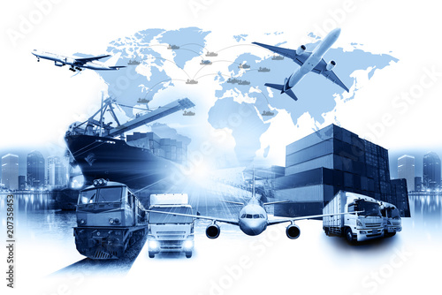 World map with logistic network distribution, Logistic and transport on