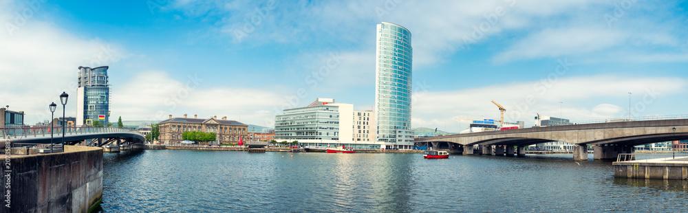 Fototapeta Panoramic view of River Lagan, Belfast City, Northern Ireland, United Kingdom