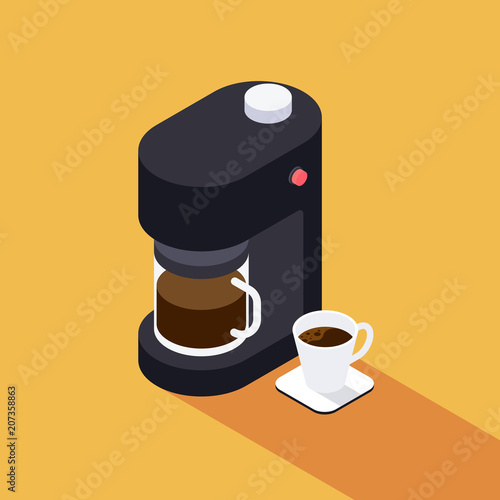 Fotografering Coffee maker machine with coffee cup isometric view flat design
