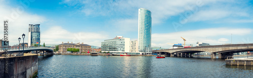 Obraz na plátně Panoramic view of River Lagan, Belfast City, Northern Ireland, United Kingdom